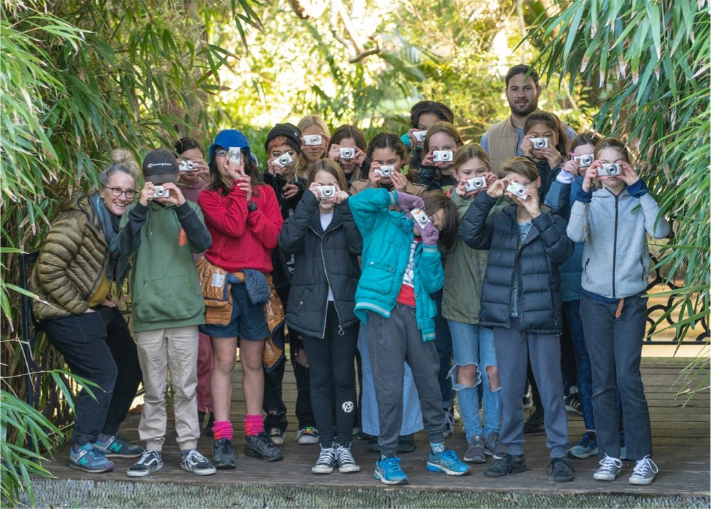 Group of students and teachers taking part in Through the Eye of Whakatū. Image credit Raymond Sagapolutele